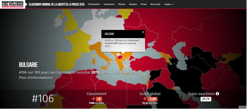 La Bulgarie au Classement mondial de la liberté de la presse 2015 par RSF. Capture d'écran
