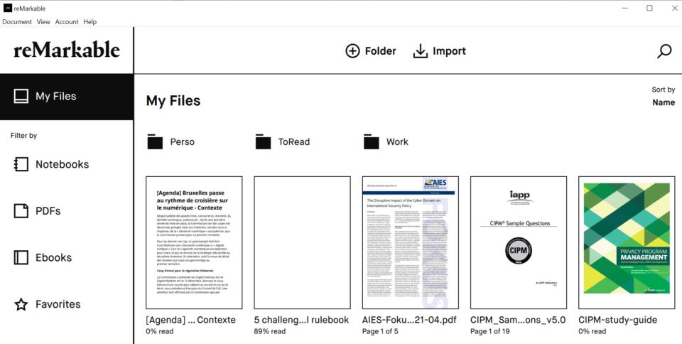 L'interface client lourd de l'appli pour tablette reMarkable 2